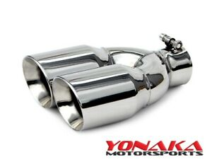 Yonaka Universal Dual Angled Stainless Steel Exhaust Tip 2 5 Inlet 3 5 Outlet