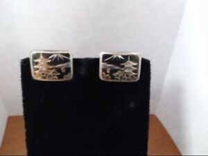 Vintage 950 Sterling Cufflinks W Japanese Pagoda And Mount Fuji Cpp010549