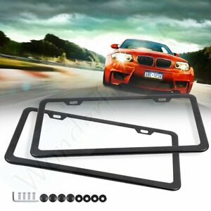 2pcs Black Slim Stainless Stell License Plate Frame For Bmw Acura With 2 Holes