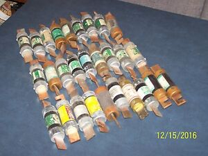 Lot Of 28 Fuses Used Tested Frn Non Ecn Lpn Ot And Nclr