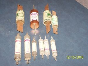 Lot Of 9 Fuses Used Tested Misc Volts Ac Trs Tr Ktm And Ktn