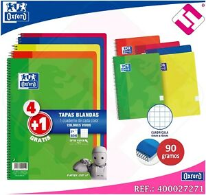 Spiral Notebooks Oxford 4 1 Din A4 80 Sheets 3 2oz 5 Colours Assorted