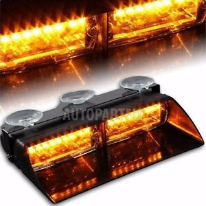 16 Led Amber Windshield Flash Strobe Light Interior Dash Yellow Traffic Advisor