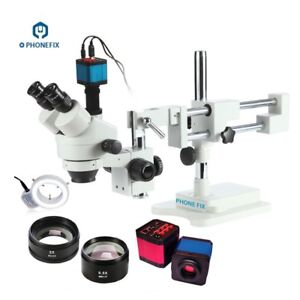 Phone Repair 3 5x 90x Stereo Zoom Microscope With 14mp Hdmi Industrial Hd Camera