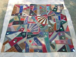 Antique Mostly Linen Crazy Quilt 1880 1900 71x71