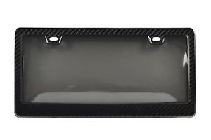 Genuine 100 Carbon Fiber License Plate Frame Tag Cover 3k With Tinted Cover