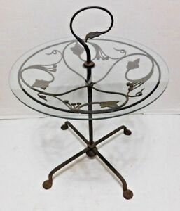 Vtg Wrought Iron Gueridon Ivy Glass Table Bistro Patio Side Accent Woodard