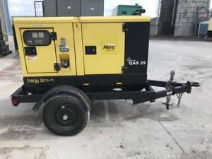 _25 Kva Atlas Copco Trailer Generator Set 12 Lead Selectable Sound Attenuated
