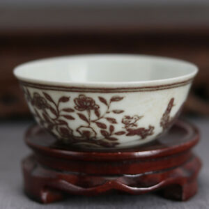 China Antique Porcelain Ming Chenghua Underglaze Red Flower Gongfu Cup Bowl