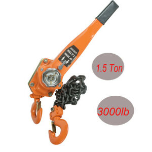 1 5 Ton 3000lb Capacity Chain Lever Block Hoist Come Along Ratchet Lift Us Top
