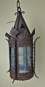 Antique Wrought Iron Gothic Hanging Light Porch Arts Crafts Stained Glass