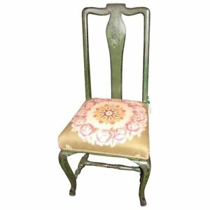 Antique Italian Painted Side Chair With Tapestry Seat Circa 1730