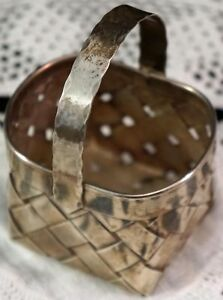 Small Vintage Cartier Sterling Silver Hand Made Woven Basket Well Marked