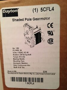 Dayton 5cfl4 Ac 115v Hp 1 50 Cw 5 16 Shaft Shaded Pole Gearmotor 26 Rpm New