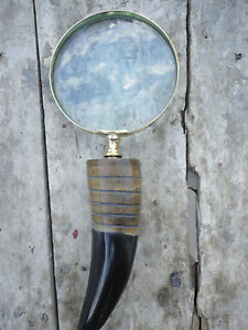 New Antique Vintage Style Buffalo Horn Big Brass Magnifying Glass Maritime Gift