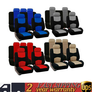 Red Blue Gray Beige Black 9pcs Universal Durable Auto Car Seat Covers Kit New