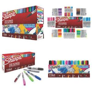 115ct Sharpie Permanent Marker Set Assorted Point Tips And Colors Collection Kit
