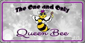 The One And Only Queen Bee Purple Novelty Metal License Plate Front Tag