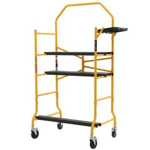 Portable Scaffold Rolling Shelf Ladder 900lb Load Capacity Folding Job Cart Rail