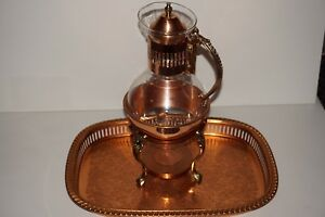 Vintage Glass Coffee Carafe Copper Base Lid Warmer Stand Tea Pitcher Pot 13