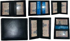 New Slim Leather Credit Card Id Card Picture Holder 2 Id Windows Lot Of 6