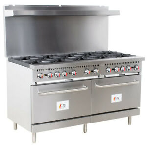 60 10 Burner Commercial Restaurant Natural Gas Range And 2 Ovens