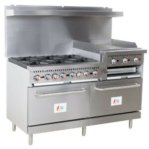 60 6 Burner Restaurant Natural Gas Range With 24 Griddle broiler And 2 Ovens