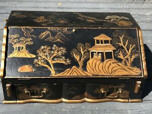 Vintage Chinese Hand Painted Lacquer Secretary Desk