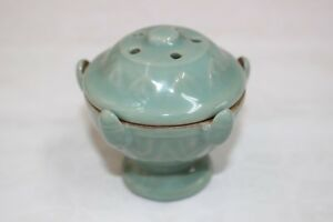 Rare Kyo Ware Japanese Porcelain Incense Burner Celadon Green W Box