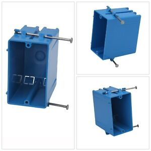 Boxes Brackets Rectangle Outlet Switch Blue 1 Gang 22 In Plastic Electrical Box