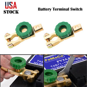 2x Car Side Post Battery Terminal Link Switch Quick Cut Off Disconnect Kill Shut