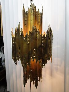 Brutalist Brass Ceiling Fixture Tom A Greene Feldman Marked Mid Century 25 T