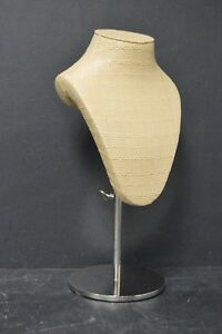 New Tan Woven Fabric Freestanding Necklace Display Bust jewelry Stand Adjustable