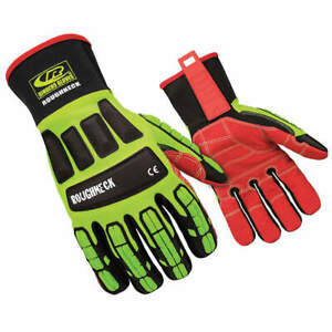 Ringe Mechanics Gloves impact Protection l pr 263 10 High Visibility Green red