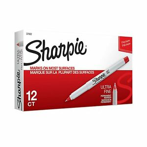 Sharpie Permanent Markers Ultra Fine Point Red 12 Pack 37002 New