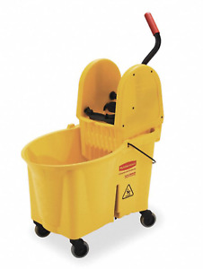 New Rubbermaid 11 gal Yellow Polypropylene Mop Bucket Wringer Fg757688yel