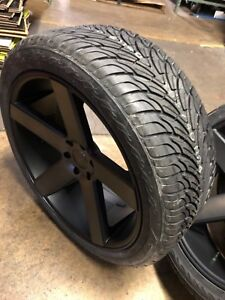 24 Dub Baller Black Ddt Wheels Rims And Tires Package 6x135 Ford F150