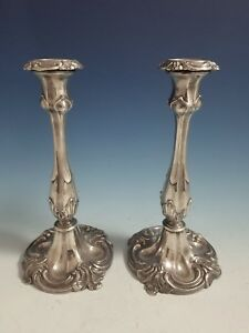 Antique Pair Of Silverplate Fancy Candlestick Holders 10 High