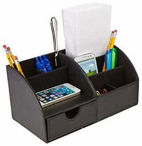 Mind Reader Curved Desk Supplies Organizer With 6 Compartments Black Taxfree