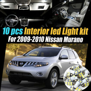 10pc Super White Car Interior Led Light Kit Package For 2009 2010 Nissan Murano