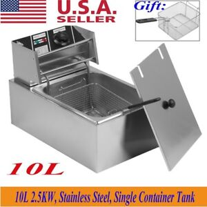 New 2500w 10l Electric Countertop Deep Fryer Tank Basket Commercial Restaurant M