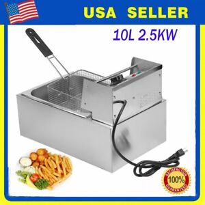 10l Commercial Electric Deep Fryer French Fry Bar Restaurant Tank With Basket M