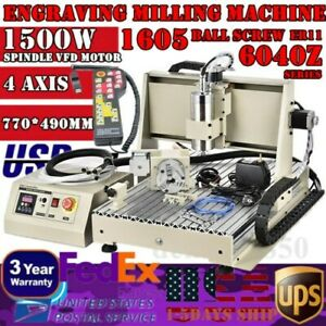 4 Axis 1 5kw Cnc 6040 Router Engraver Engraving Mill drilling Machine Rc Usb