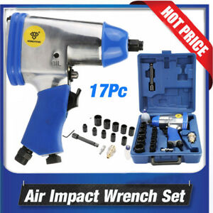 17pcs 1 2inch Dr Air Impact Wrench Set W Sockets Inline Filter Extention Bar M