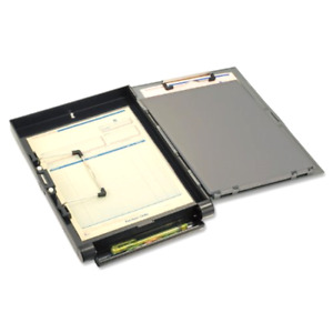 Recycled Clipboard Storage forms Holder Plastic Side Opening Gray black
