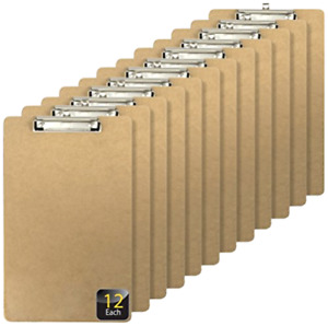 Recycled Legal Size Wood Clipboard Low Profile Clip 12 Pack Brown 83227