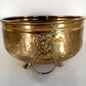 Brass Planter Lion Head Pot 13 Hammered Vtg Mid Century Claw Foot Oval