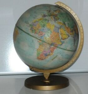 Vintage Replogle World Nation 12 In Diameter Globe W Metal Stand 1976 1979