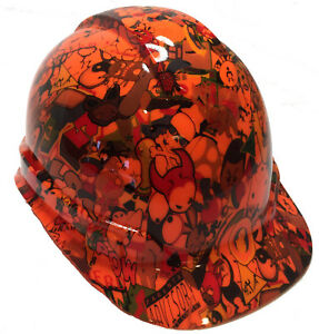 Hydro Dipped Hard Hat Hi Vis Orange Sticker Bomb W Free Brb Tshirt