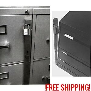 Cabinet Locking Bar 4 Drawer Filing Key Office Secure Security Metal Protect New